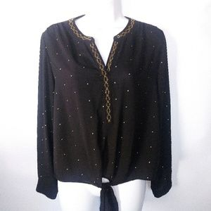 Black and gold sheer tie front blouse